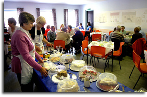 Inside the Limekilns church tearoom